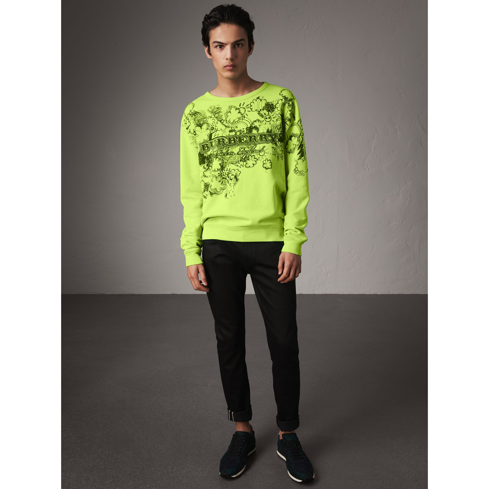 Doodle Print Cotton Sweatshirt in Bright Lemon - Men | Burberry - gallery image 5
