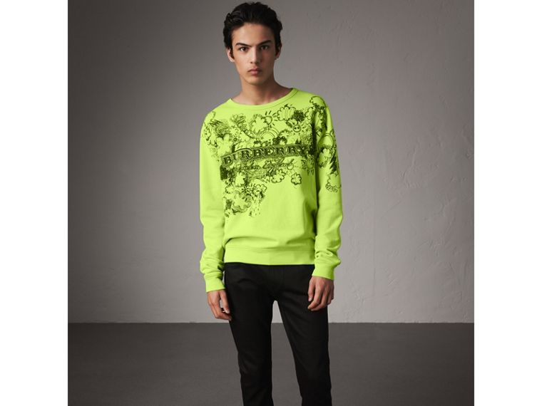 Doodle Print Cotton Sweatshirt in Bright Lemon - Men | Burberry - cell image 4