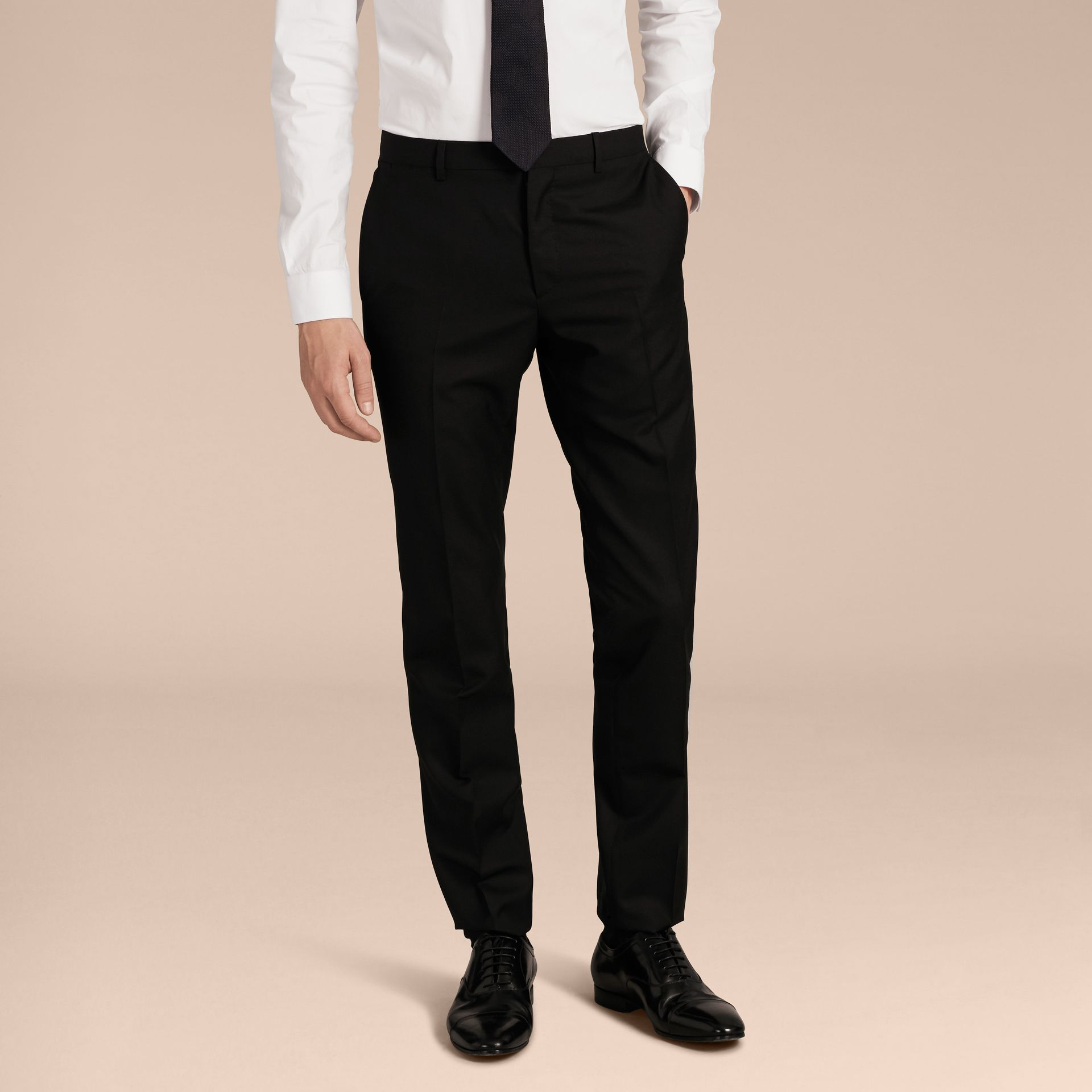 Slim Fit Wool Part-canvas Suit in Black - Men | Burberry - gallery image 9