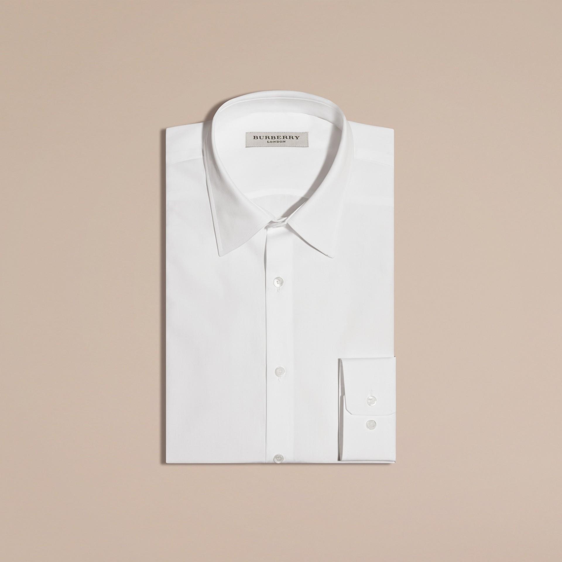 Blanc Chemise ajustée en popeline de coton Blanc - photo de la galerie 1