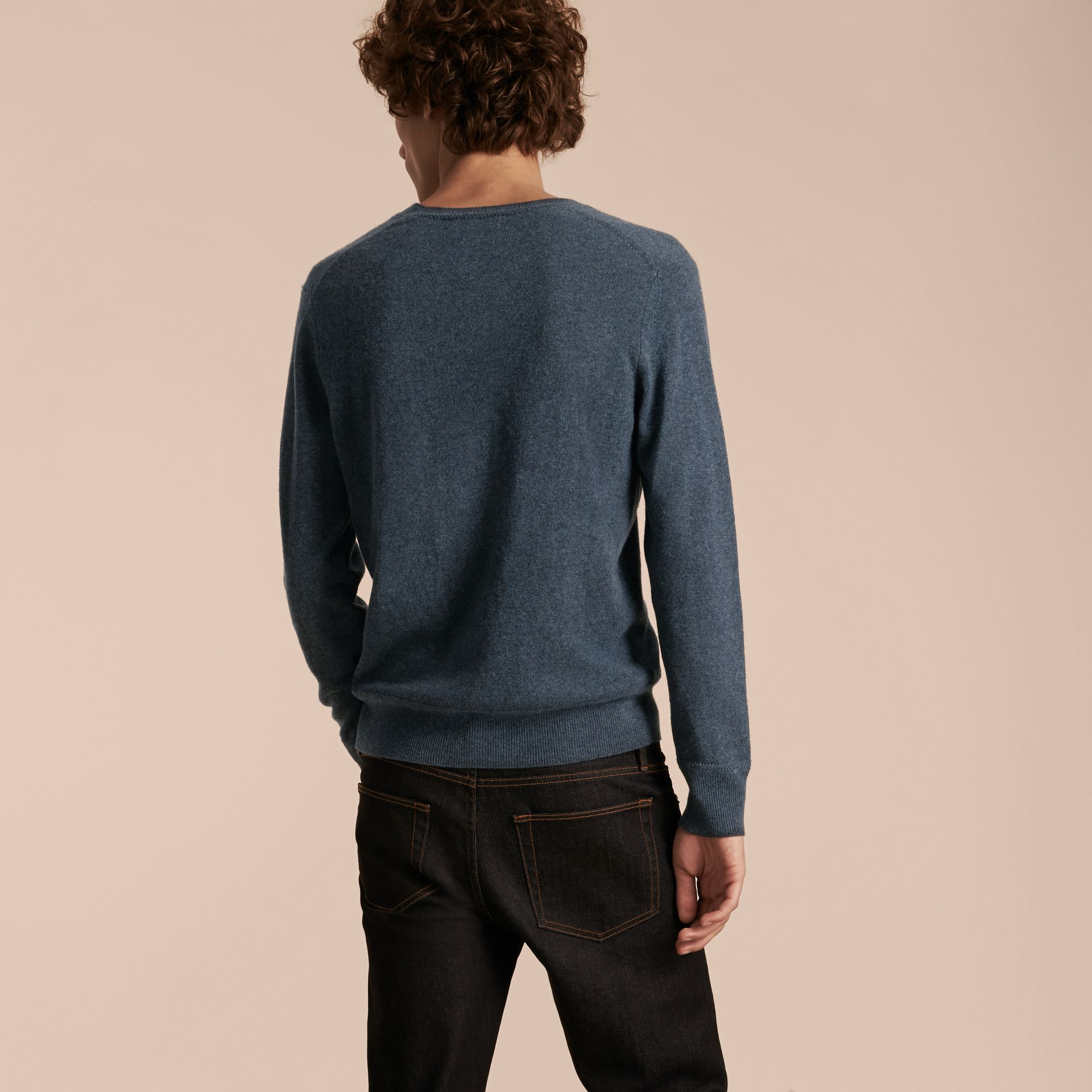 Crew Neck Cashmere Sweater Airforce Blue - gallery image 3
