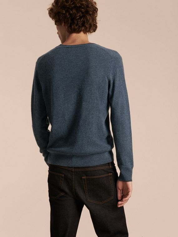 Crew Neck Cashmere Sweater Airforce Blue - cell image 2