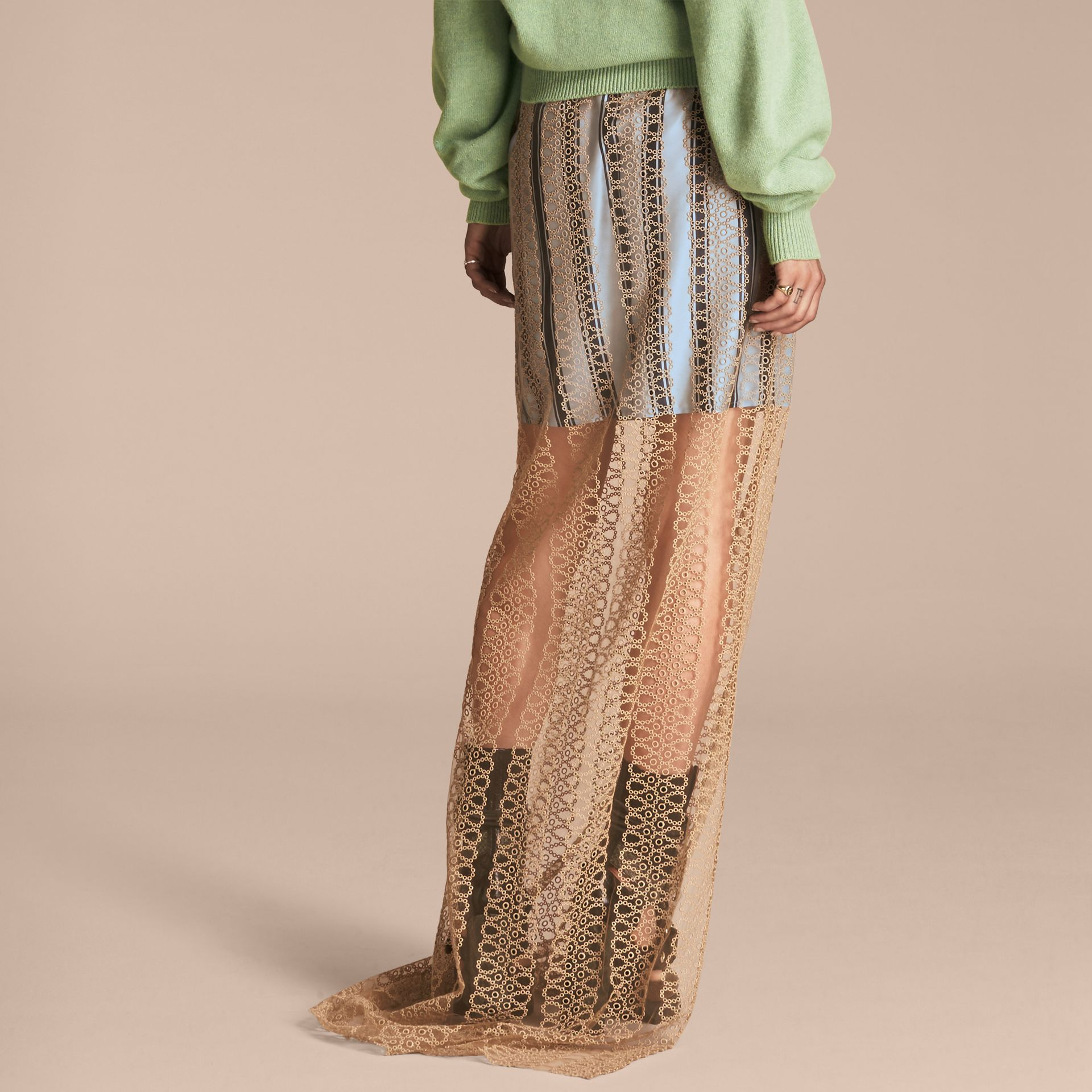 Braided Tulle Column Skirt with Striped Lining in Bright Toffee - gallery image 3