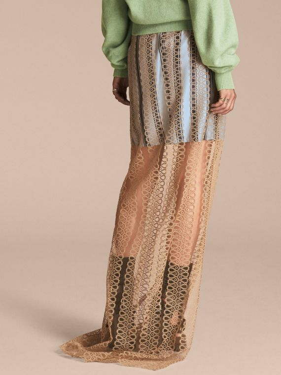 Braided Tulle Column Skirt with Striped Lining in Bright Toffee - cell image 2