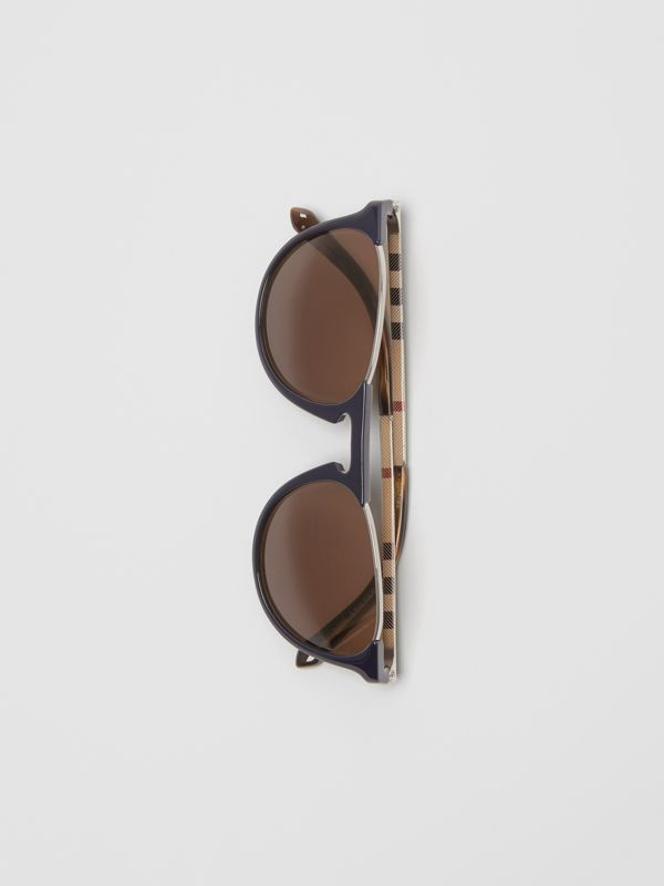 Keyhole Pilot Round Frame Sunglasses in Blue - Men | Burberry United States - cell image 2