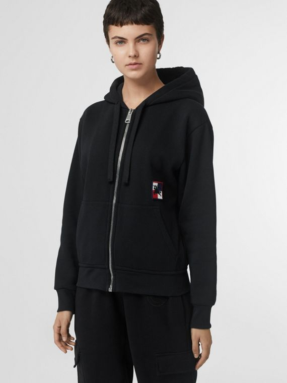 Chequer EKD Cotton Jersey Hooded Top in Black
