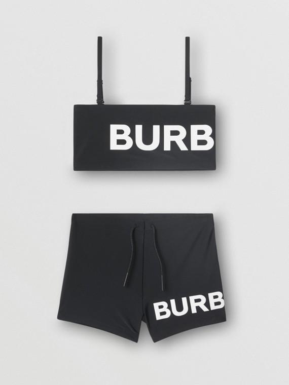 Logo Print Bikini in Black