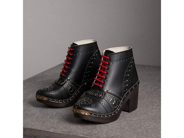 Riveted Leather Heeled Clog Boots in Black - Women | Burberry - cell image 4