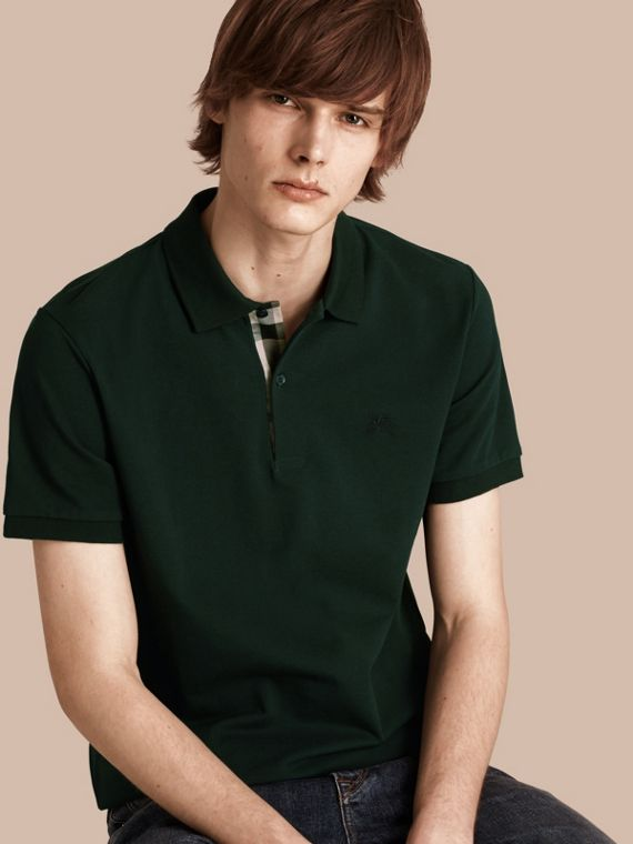 Check Placket Cotton Piqué Polo Shirt Racing Green