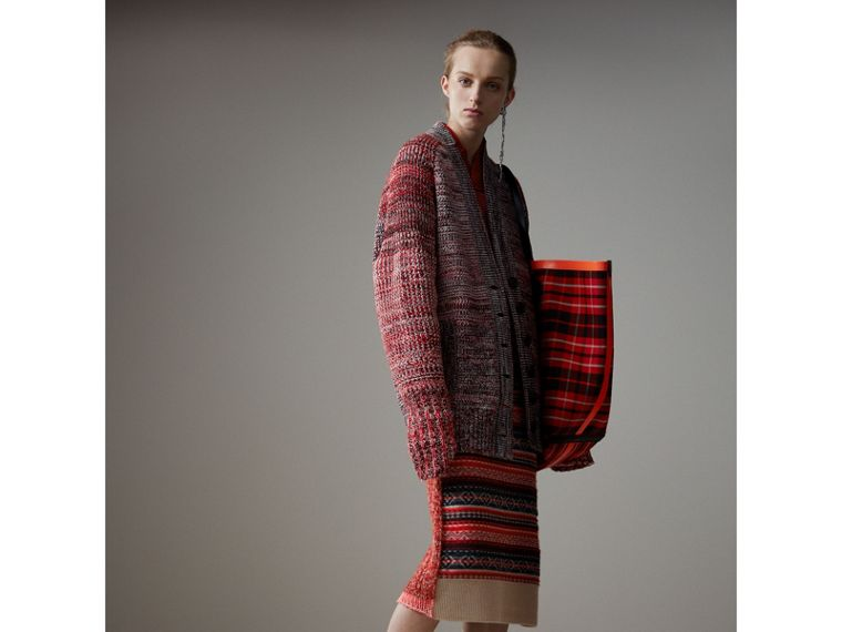 Fair Isle and Cable Knit Wool Cashmere Blend Skirt in Multicolour - Women | Burberry Canada - cell image 4