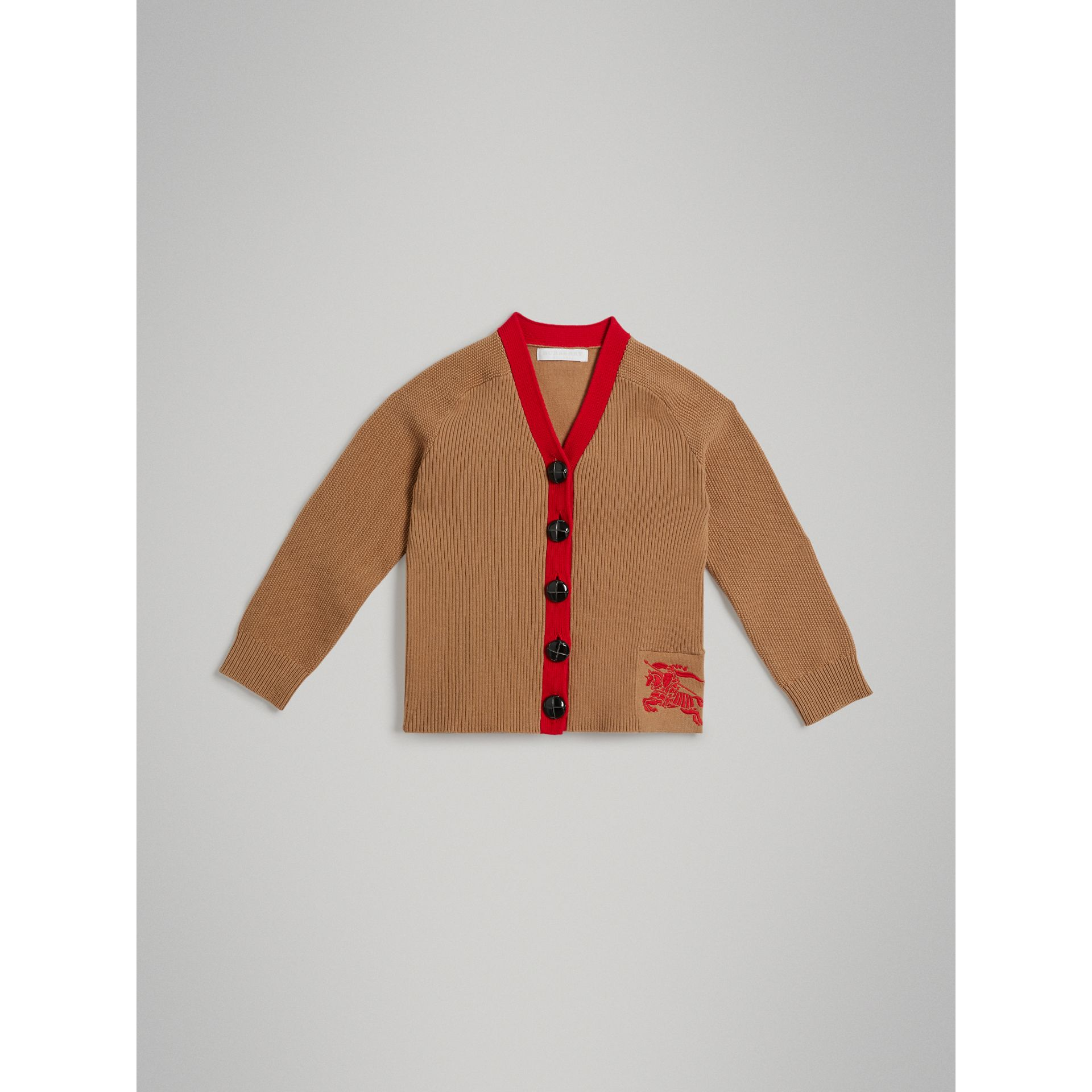 Two-tone Cotton Knit Cardigan in Camel | Burberry - gallery image 0