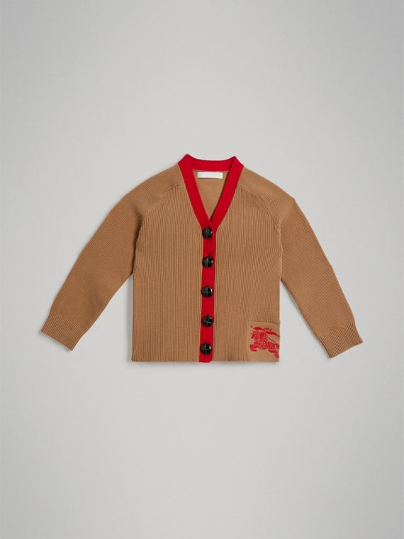 Two-tone Cotton Knit Cardigan in Camel