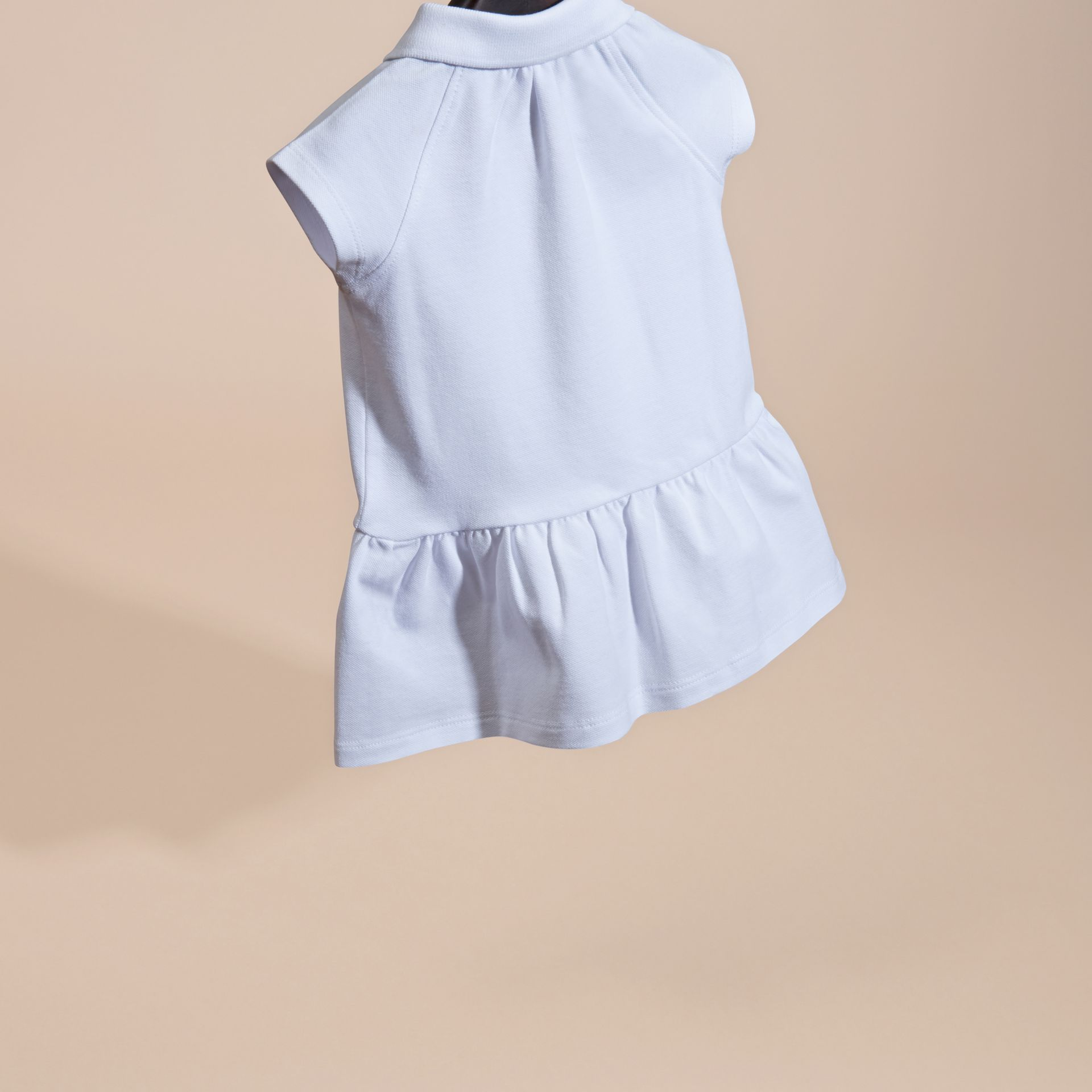 White Stretch Cotton Piqué Dress - gallery image 4