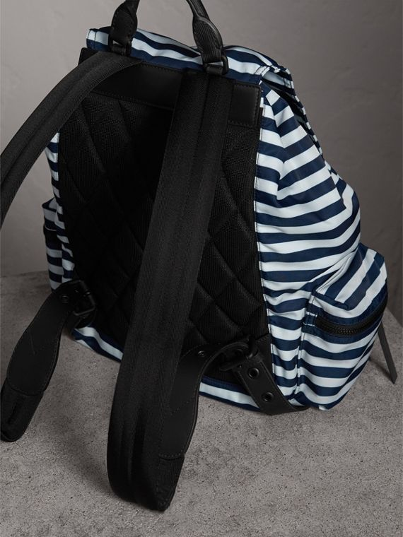 The Large Rucksack in Striped Nylon with Pallas Helmet Motif in Bright Cyan Blue - Men | Burberry - cell image 3