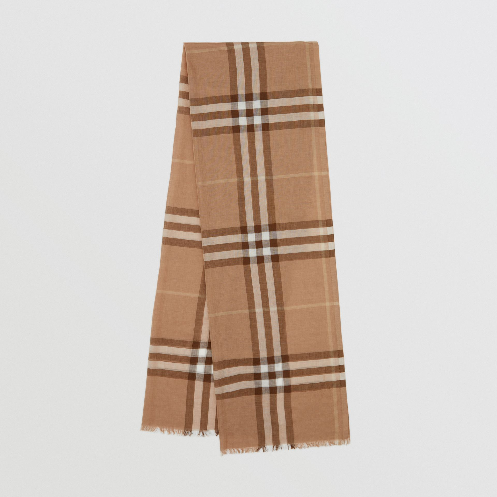 Lightweight Check Wool Silk Scarf in Mid Camel | Burberry - gallery image 0