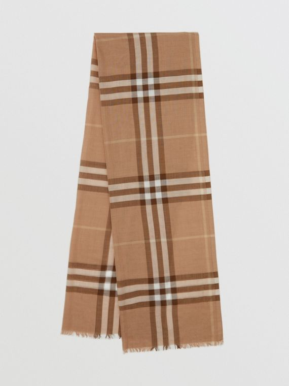 Lightweight Check Wool Silk Scarf in Mid Camel