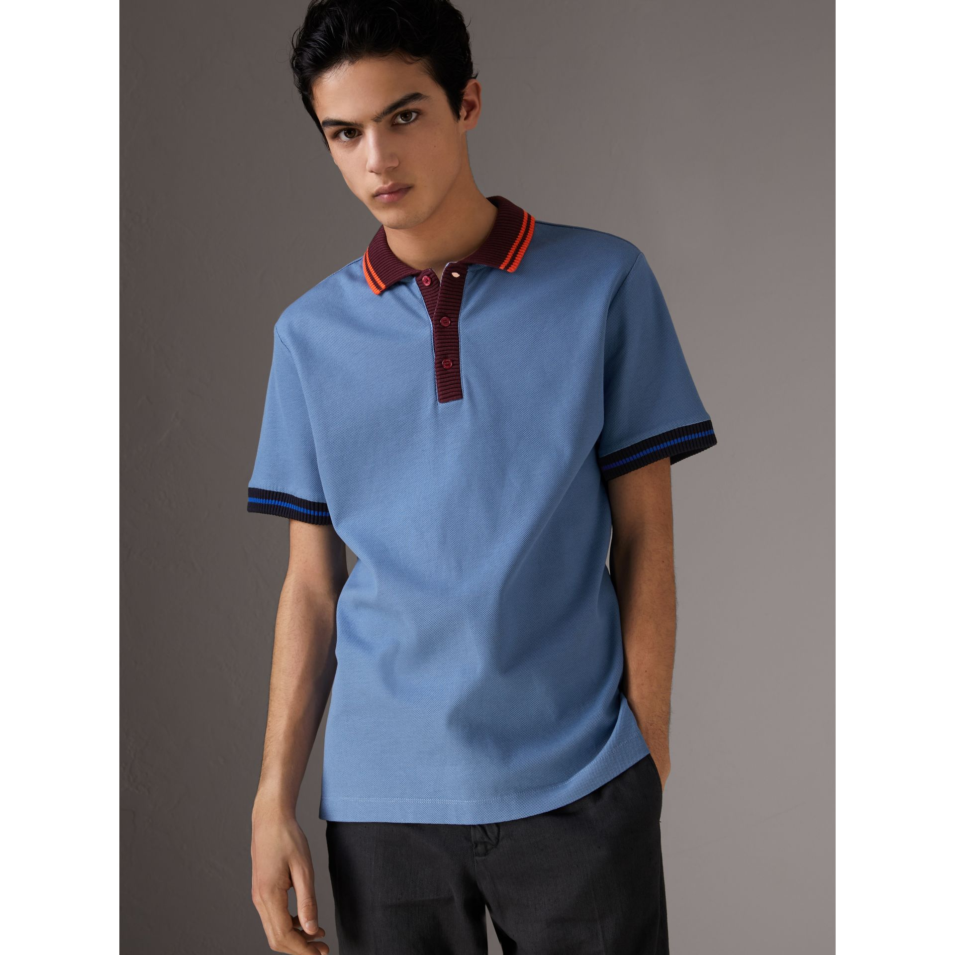 Two-tone Stripe Knitted Detail Cotton Polo Shirt in Light Blue - Men | Burberry United States - gallery image 0