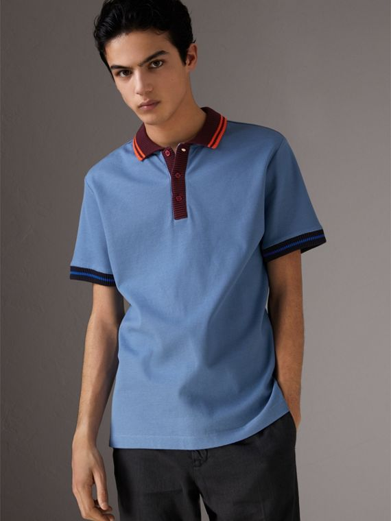 Two-tone Stripe Knitted Detail Cotton Polo Shirt in Light Blue