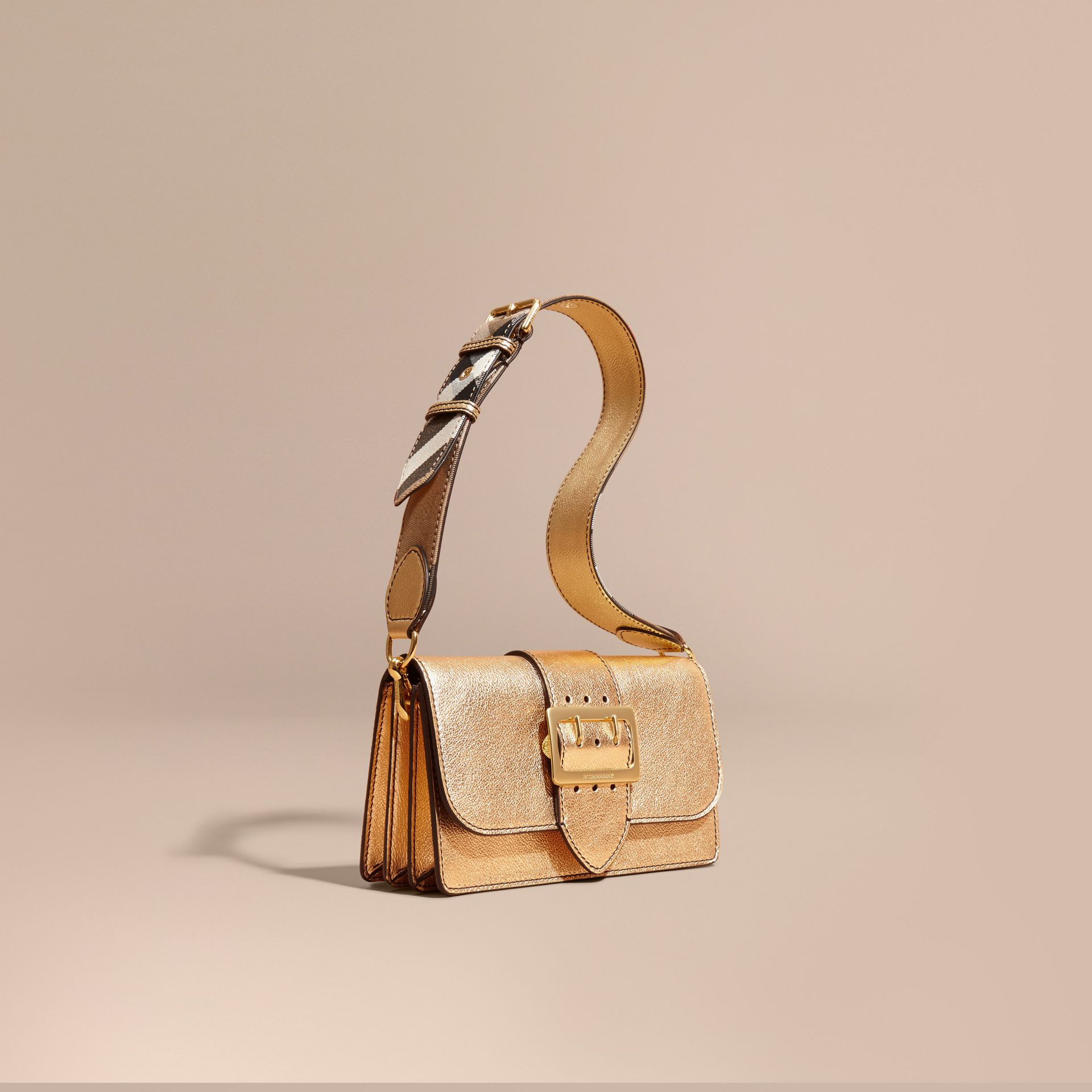 Gold The Medium Buckle Bag in Metallic Leather - gallery image 1