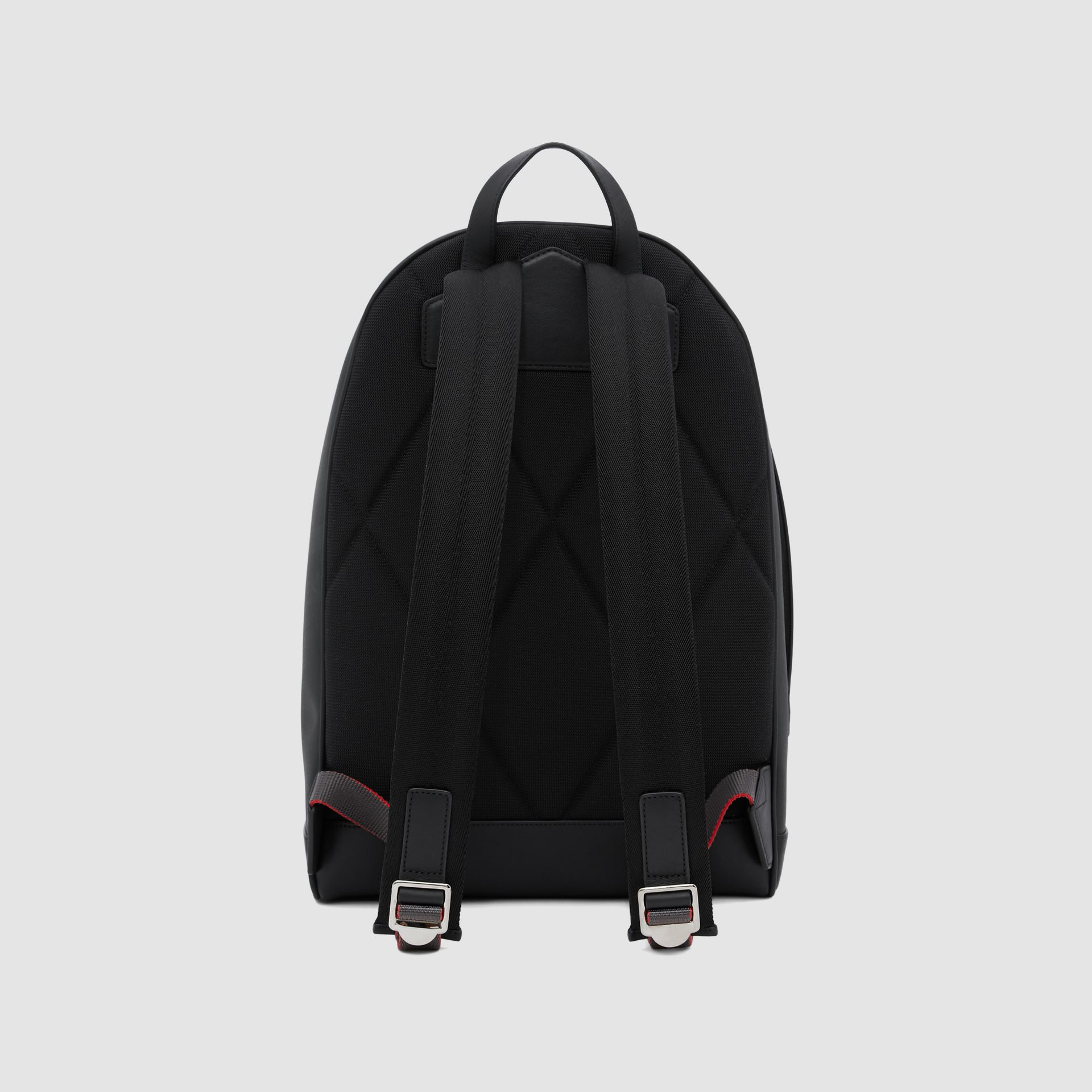 Logo Graphic London Check and Leather Backpack in Dark Charcoal | Burberry Hong Kong S.A.R - gallery image 9