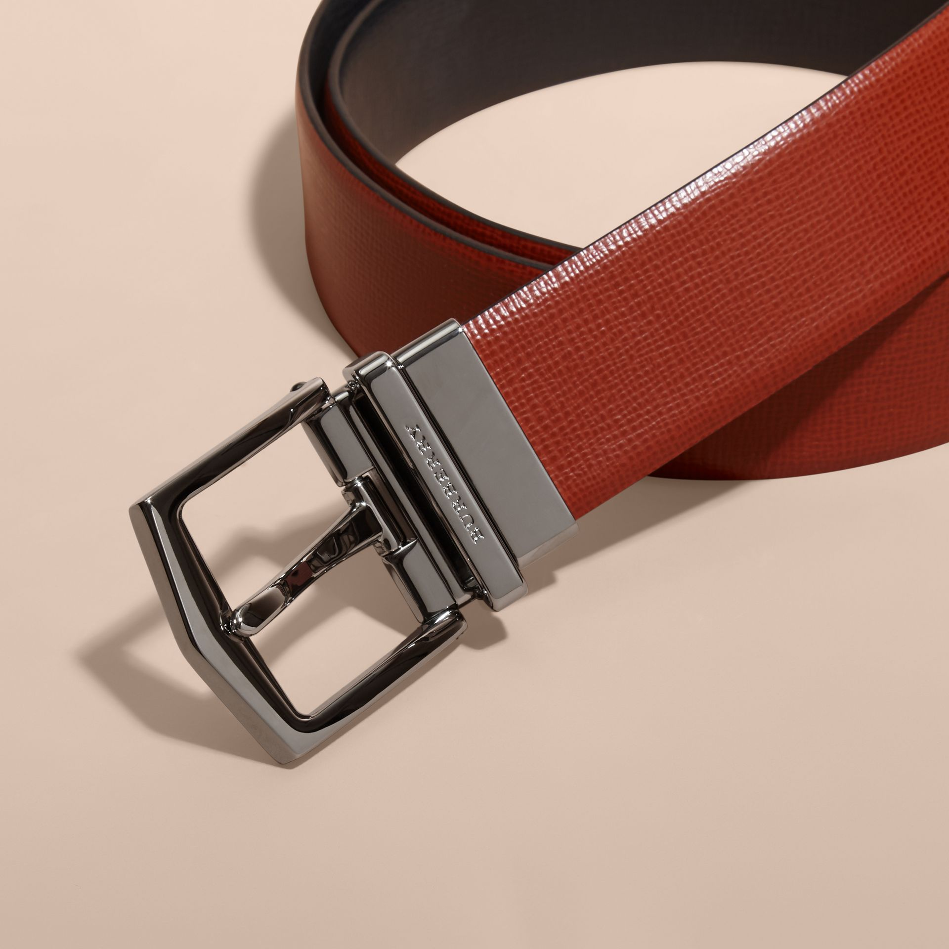 Burnt sienna/black Reversible London Leather Belt Burnt Sienna/black - gallery image 2