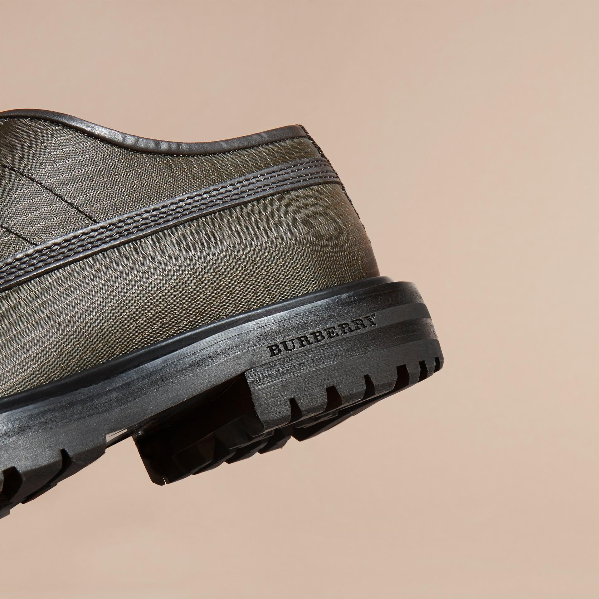 Dark brown Textured Check Leather Trim Derby Shoes Dark Brown - gallery image 2