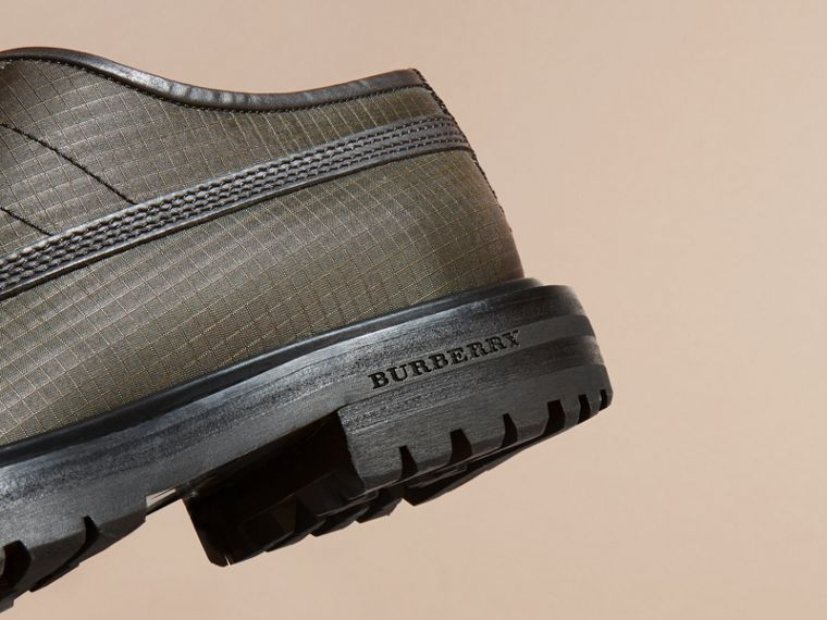 Dark brown Textured Check Leather Trim Derby Shoes Dark Brown - cell image 1