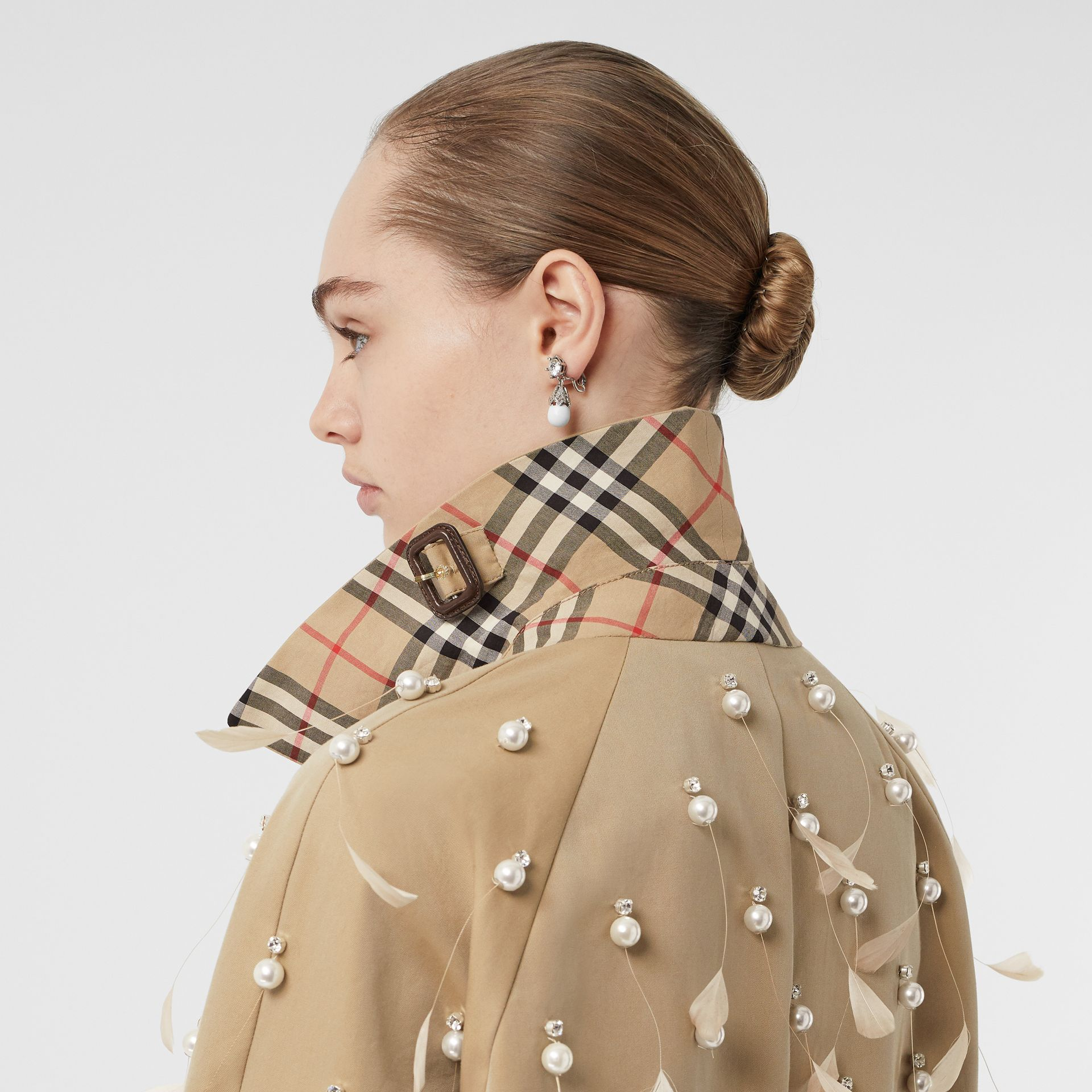 Embellished Cotton Gabardine Car Coat in Pale Honey - Women | Burberry - gallery image 5