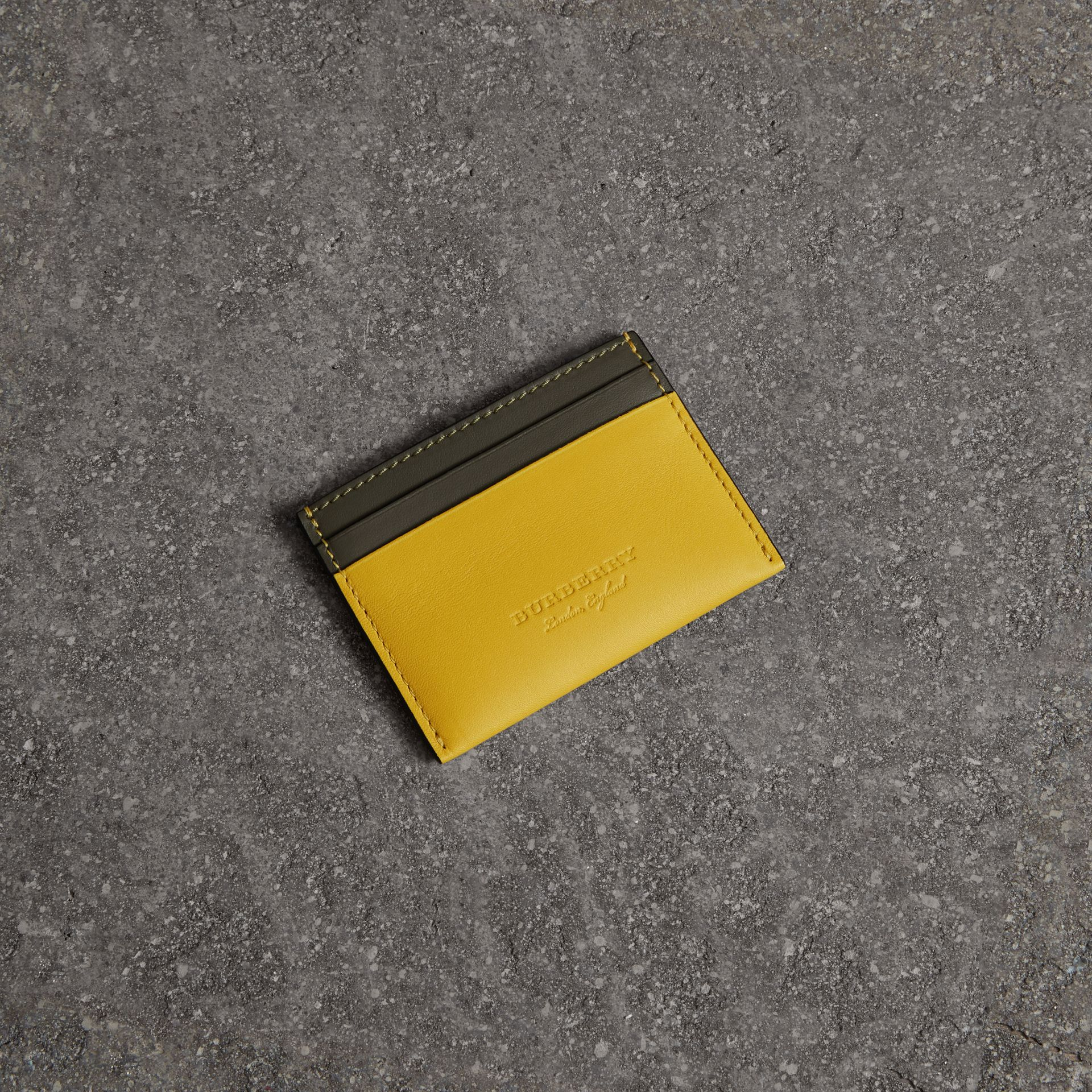 Two-tone Leather Card Case in Bright Larch Yellow | Burberry - gallery image 0