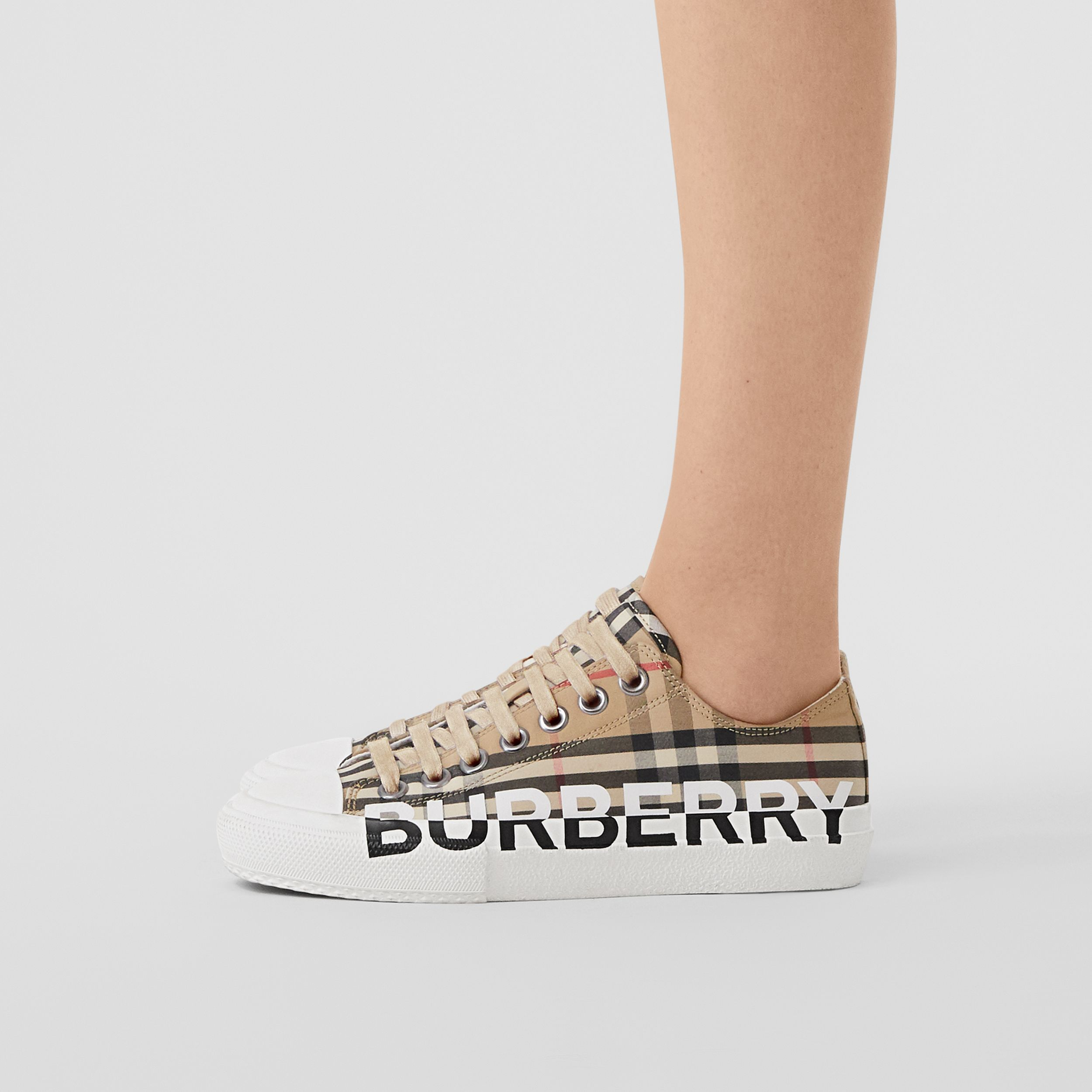 Logo Print Vintage Check Cotton Sneakers in Archive Beige - Women | Burberry - 3