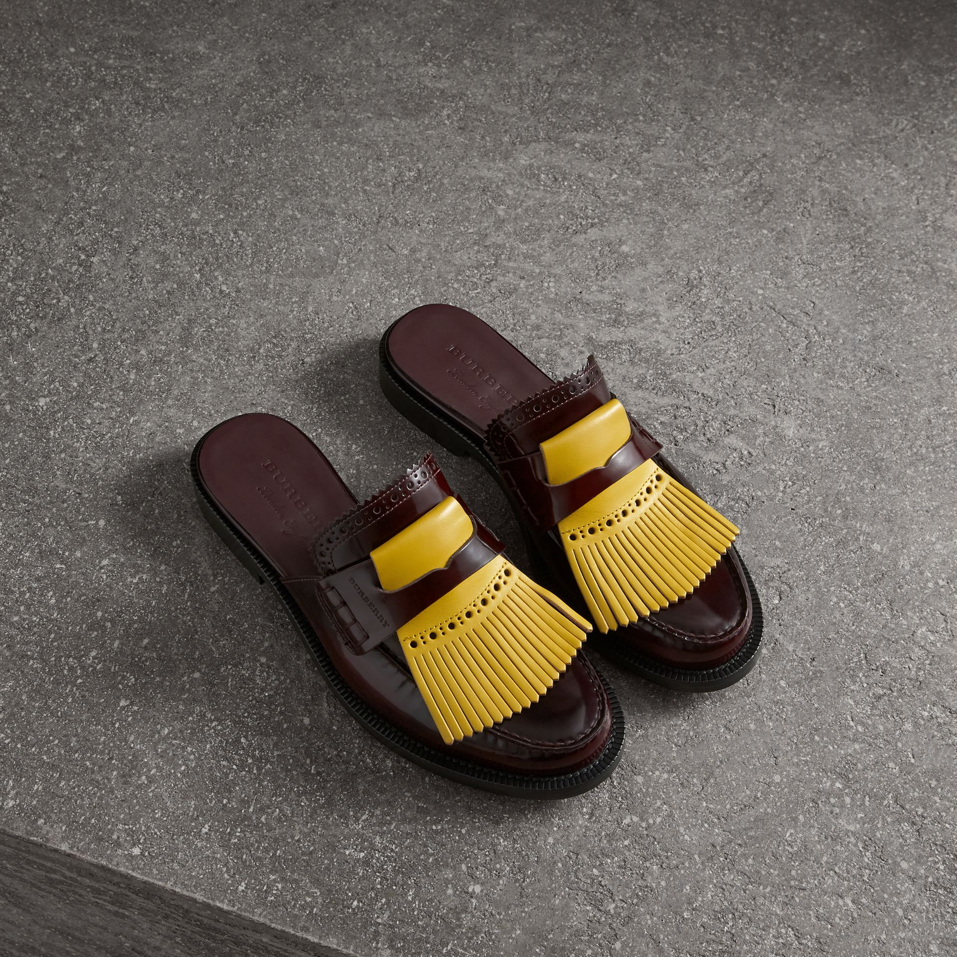 Contrast Kiltie Fringe Leather Mules in Burgundy - Women | Burberry - gallery image 0