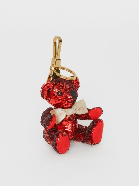 Thomas Bear Charm in Sequins and Leather in Red