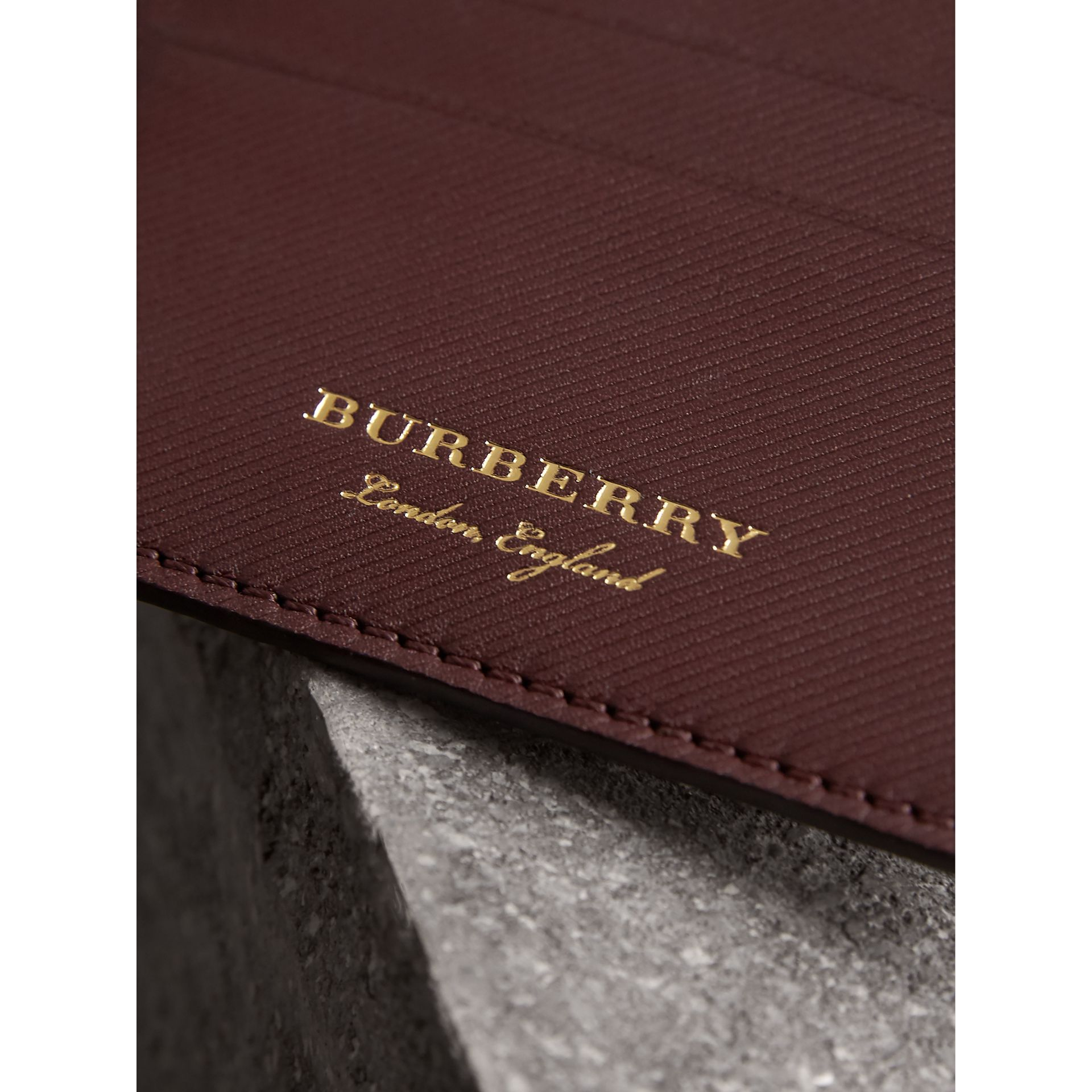 Trench Leather Card Case in Wine - Men | Burberry United States - gallery image 2