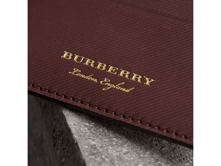 Trench Leather Card Case in Wine - Men | Burberry United States - cell image 1