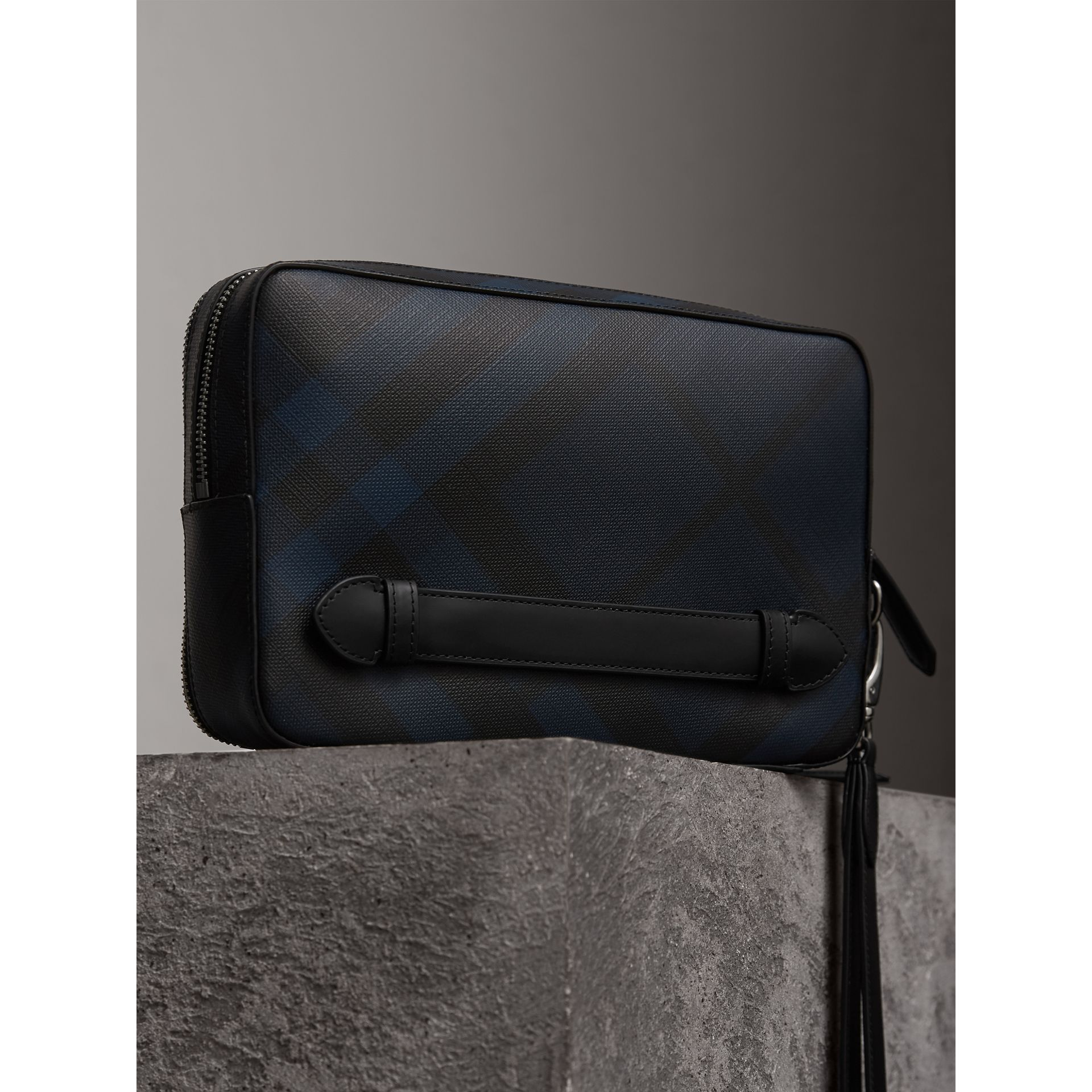 Leather-trimmed London Check Pouch in Navy/black | Burberry Canada - gallery image 2