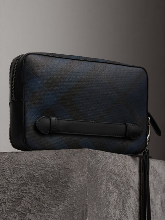 Leather-trimmed London Check Pouch in Navy/black | Burberry - cell image 2