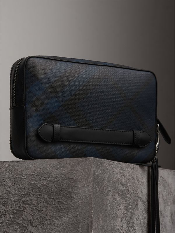 Leather-trimmed London Check Pouch in Navy/black | Burberry Canada - cell image 2