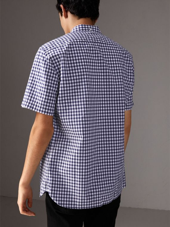 Short-sleeve Button-down Collar Cotton Gingham Shirt in Navy - Men | Burberry - cell image 2