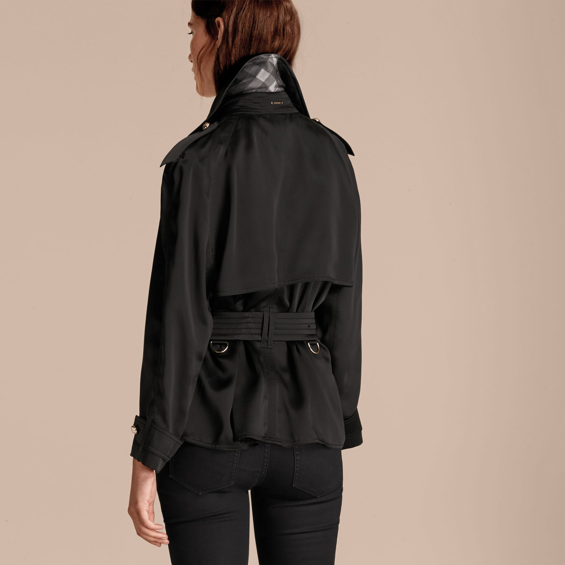 Black Oversized Regimental Silk Trench Jacket - gallery image 3