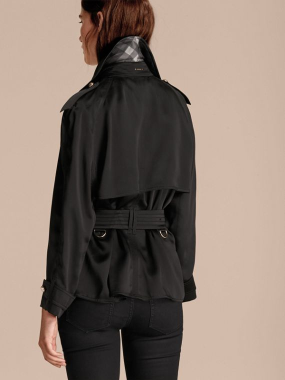 Black Oversized Regimental Silk Trench Jacket - cell image 2