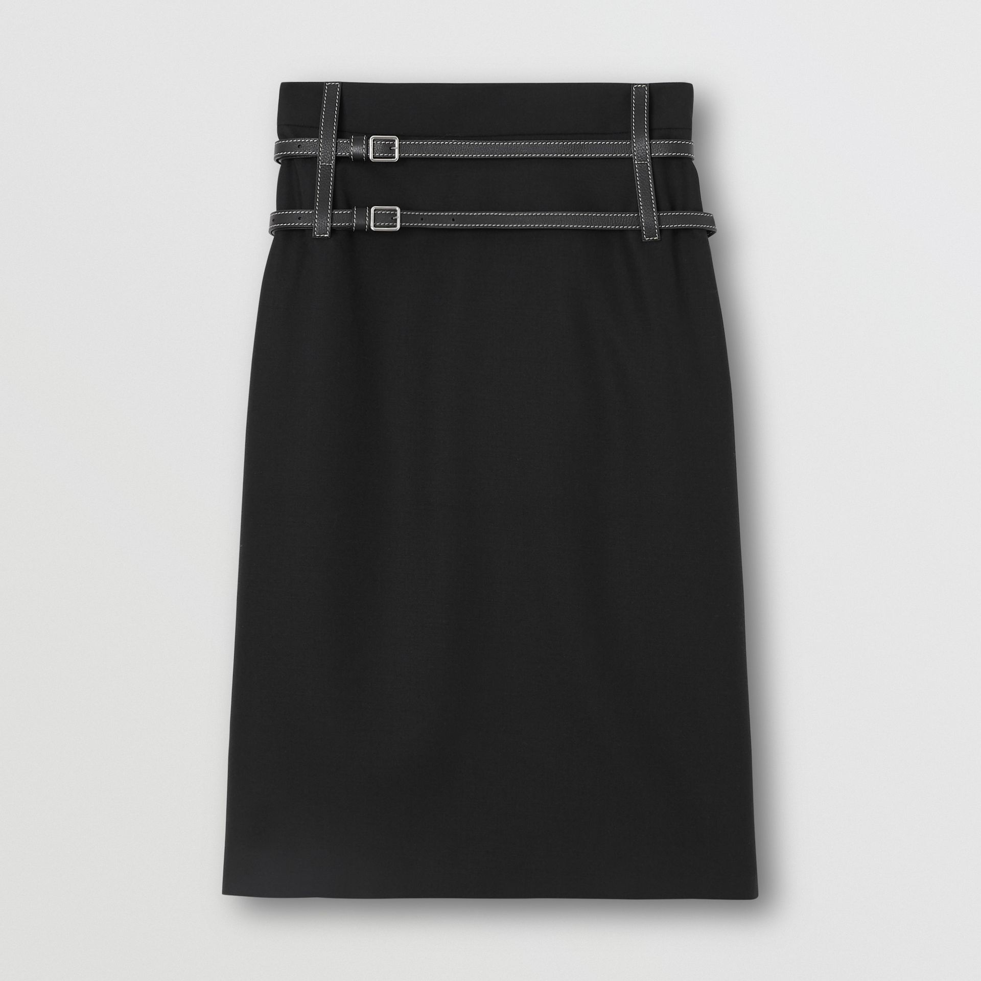 Leather Harness Detail Wool Pencil Skirt in Black - Women | Burberry - gallery image 3