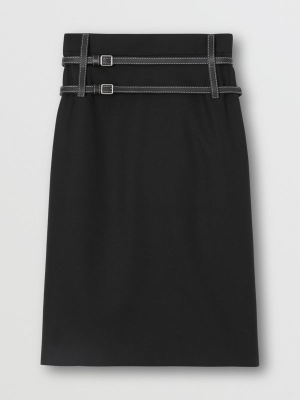 Leather Harness Detail Wool Pencil Skirt in Black - Women | Burberry - cell image 3