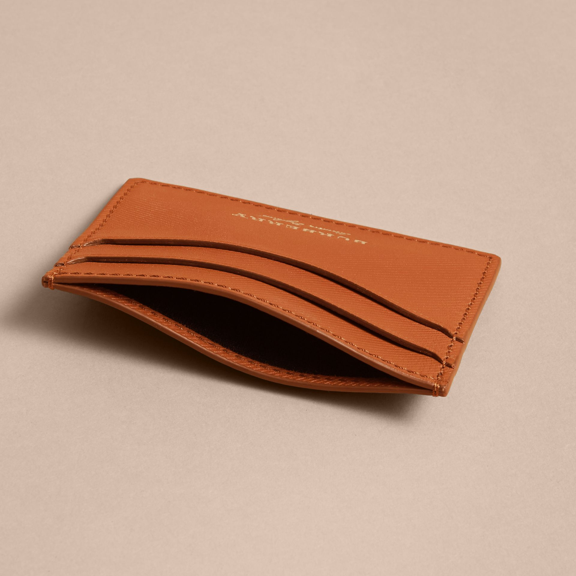 Trench Leather Card Case in Tan - Men | Burberry - gallery image 4