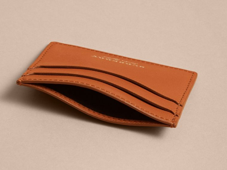 Trench Leather Card Case in Tan - Men | Burberry Australia - cell image 4