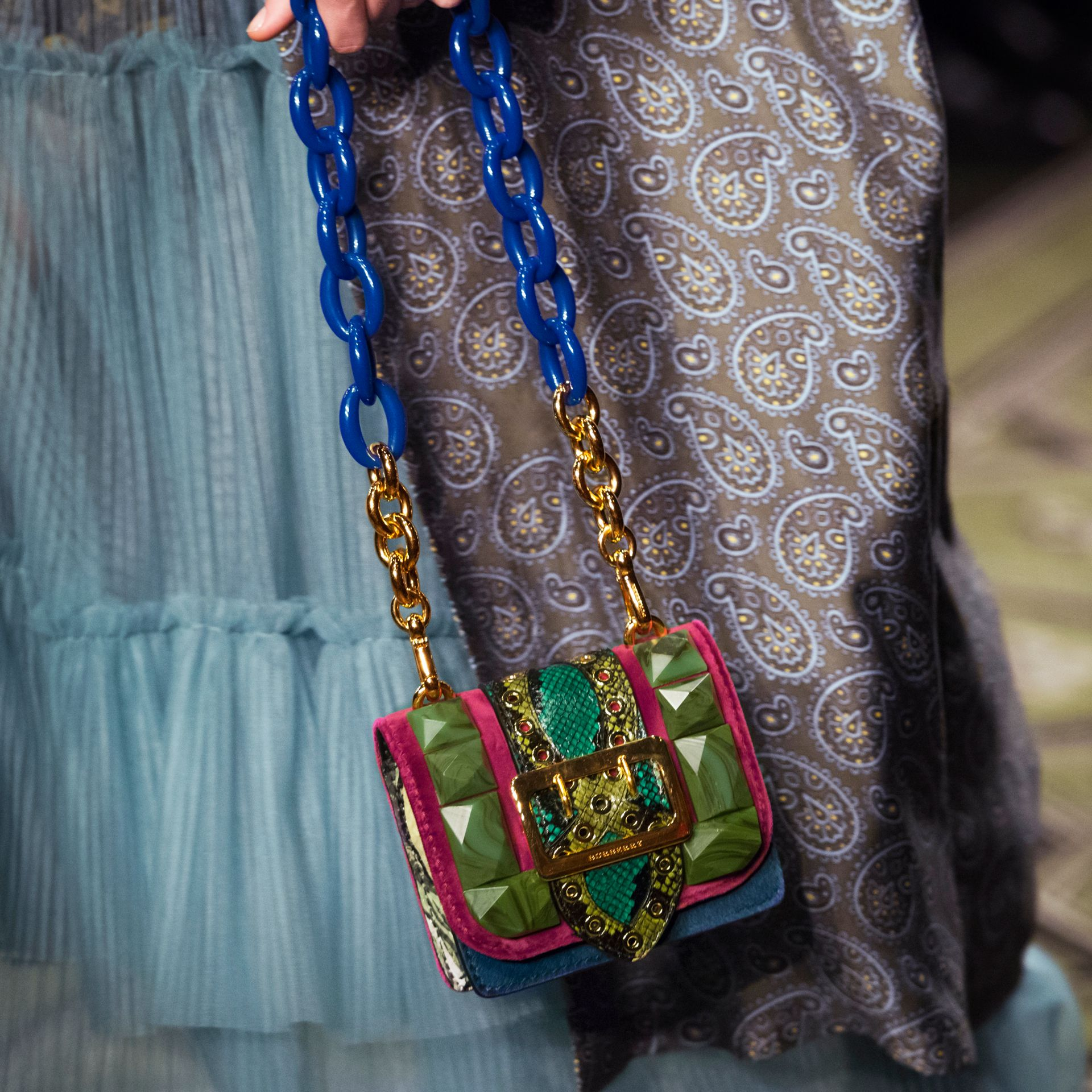 The Mini Square Buckle Bag in Calfskin, Snakeskin and Velvet Damson - gallery image 8