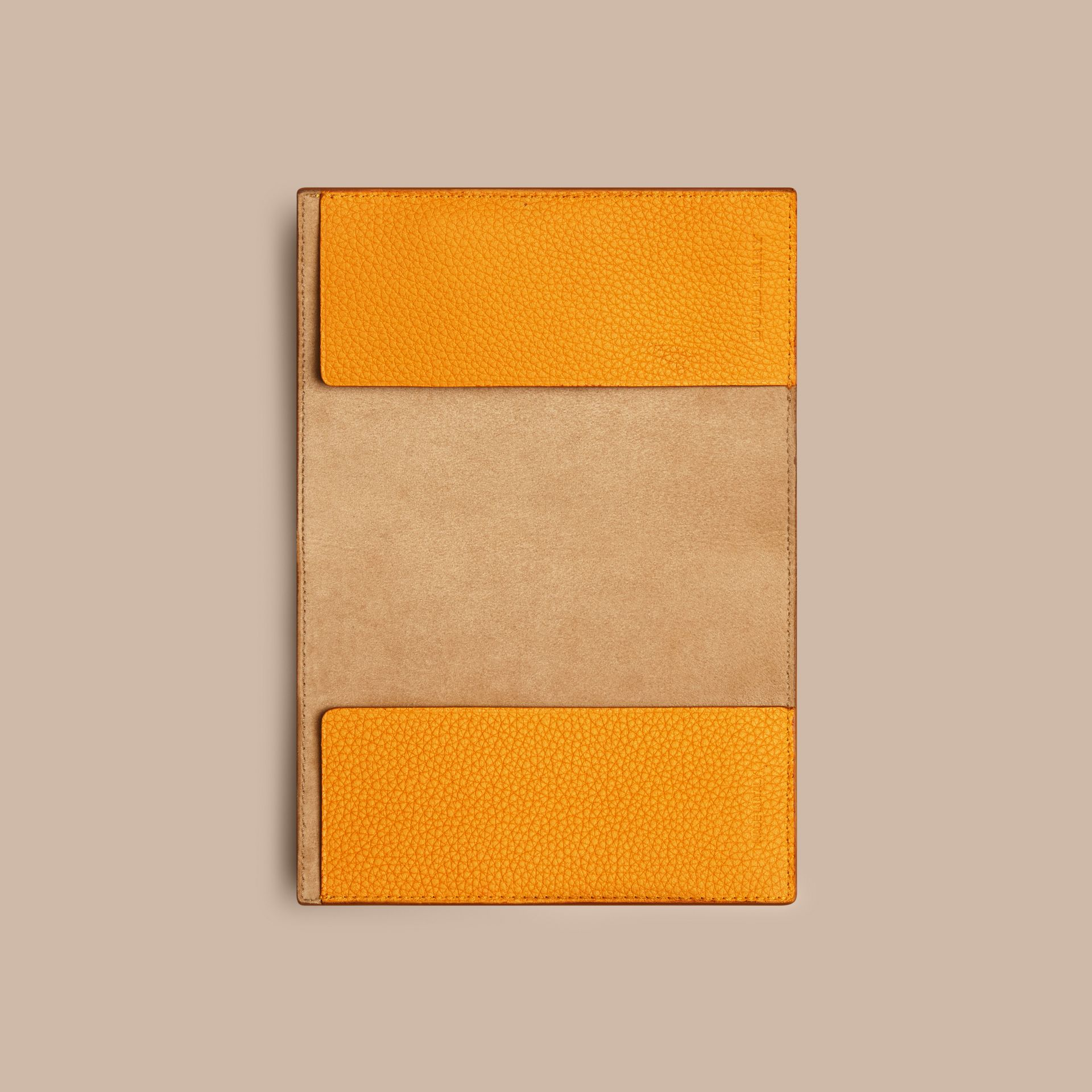 Grainy Leather Passport Cover in Ochre Yellow | Burberry - gallery image 2