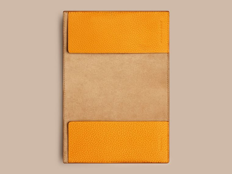 Grainy Leather Passport Cover in Ochre Yellow | Burberry - cell image 1