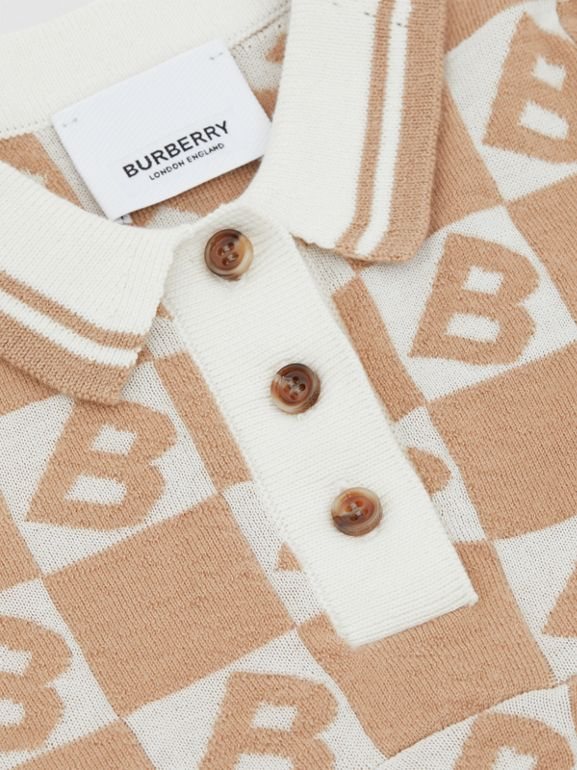 B Motif Cotton Merino Wool Cashmere Dress in Light Camel - Children | Burberry - cell image 1