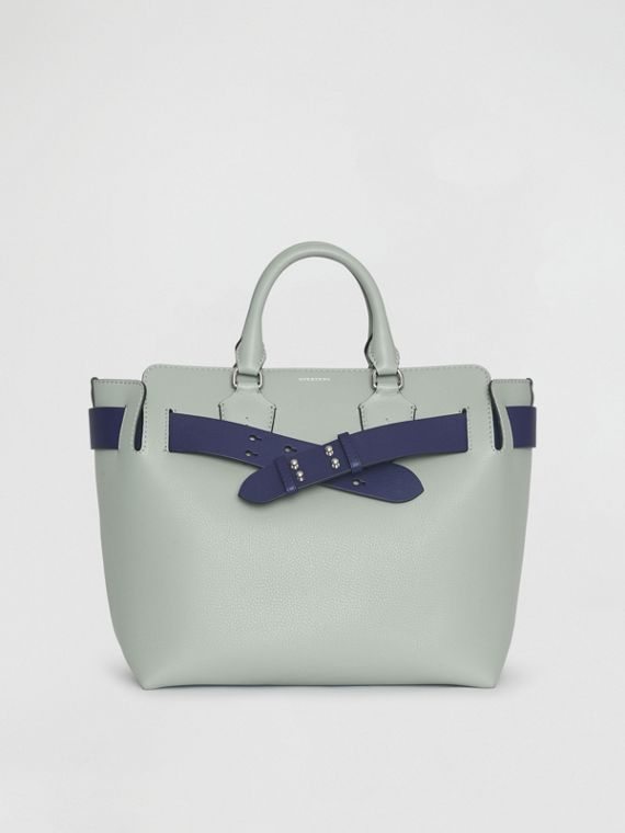 The Medium Leather Belt Bag in Grey Blue