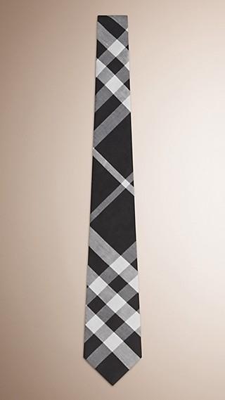 Cravate moderne en soie et lin à motif check tissé en jacquard